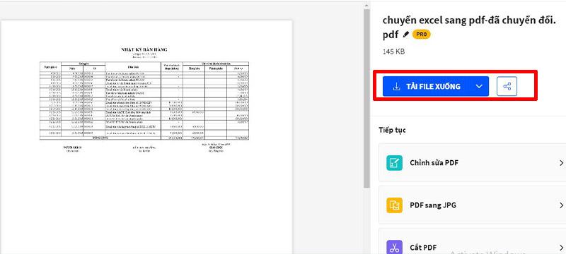 Cách chuyển từ Excel sang PDF online